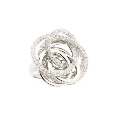 Borromean White Diamond and Gold Infinity Circle Ring