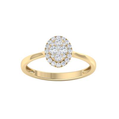 Halo Diamond Oval Evergreen Engagement Ring