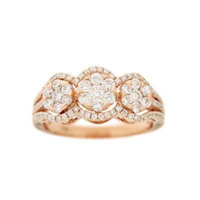 Triple Halo Diamond Ring